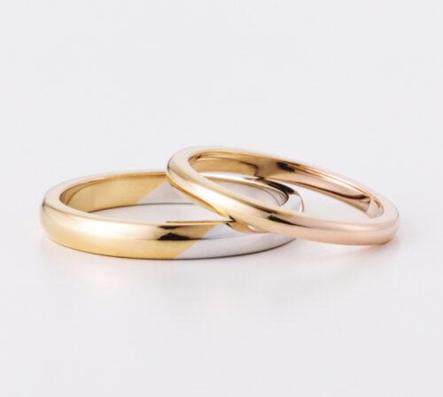 二色が斜めに交差するコンビリング 鏡面に磨き上げればグラデーションが浮かびあがる 職人の技術で一品ずつ繊細な仕上げの結婚指輪 幅や地金変更もご相談ください craftsmanship