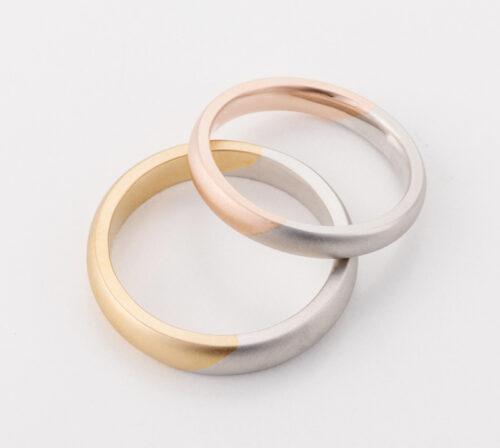 二色が斜めに交差するコンビリング はっきりとした地金の色みを楽しめる 職人の技術で一品ずつ繊細な仕上げの結婚指輪 幅や地金、テクスチャー変更もご相談ください craftsmanship